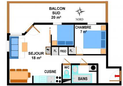 Vacances en montagne Appartement 3 pièces 6 personnes (B15) - Résidence le Bonheur des Pistes - Val Cenis - Plan