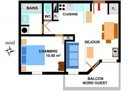 Vacances en montagne Appartement 2 pièces 4 personnes (B44) - Résidence le Bonheur des Pistes - Val Cenis - Plan