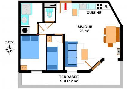 Vacances en montagne Appartement 2 pièces 6 personnes (B05) - Résidence le Bonheur des Pistes - Val Cenis - Plan