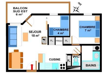 Vacances en montagne Appartement 3 pièces 6 personnes (B28M) - Résidence le Bonheur des Pistes - Val Cenis - Plan