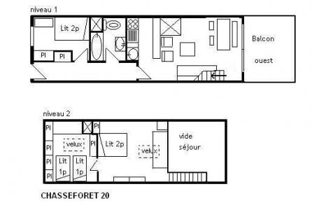 Vacances en montagne Appartement duplex 3 pièces 7 personnes (20) - Résidence le Chasseforêt - Méribel - Plan