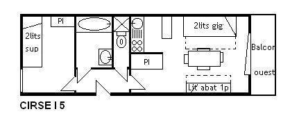 Vacances en montagne Appartement 2 pièces 4 personnes (I5) - Résidence le Cirsé - Méribel - Plan
