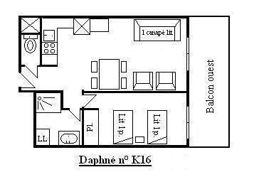 Vacances en montagne Appartement 2 pièces 4 personnes (K16) - Résidence le Daphné - Méribel - Plan