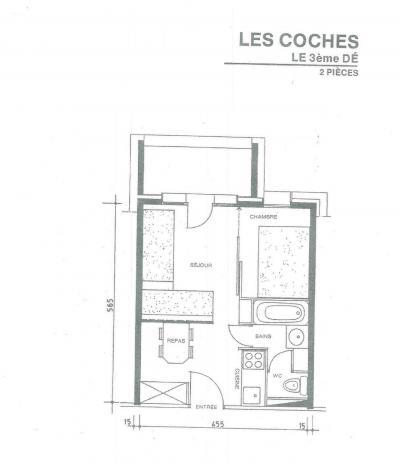 Vacances en montagne Appartement 2 pièces 4 personnes (008) - Résidence le Dé 3 - Montchavin La Plagne - Plan