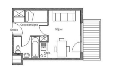 Holiday in mountain resort Studio sleeping corner 3 people (125) - Résidence le Median - Les Menuires