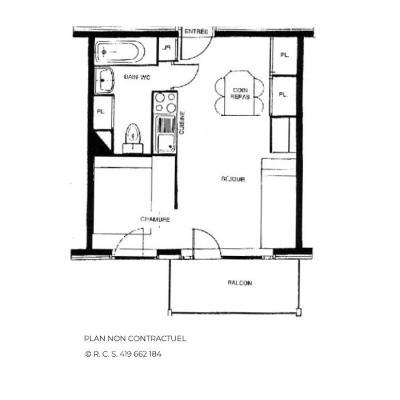 Vacances en montagne Appartement 2 pièces 4 personnes (611) - Résidence le Nécou - Les Menuires - Plan