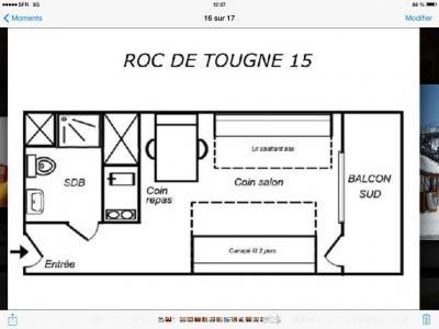 Vacances en montagne Studio 5 personnes (015) - Résidence le Roc de Tougne - Méribel-Mottaret - Plan