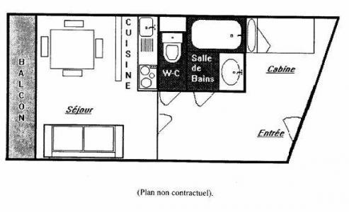 Vacances en montagne Studio cabine 4 personnes (T3) - Résidence le Sérac - Val Thorens