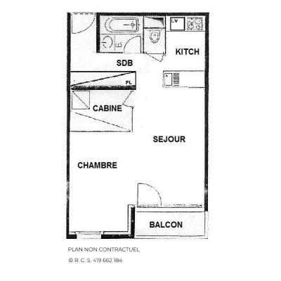 Vacances en montagne Studio cabine 4 personnes (426) - Résidence le Villaret - Les Menuires - Plan