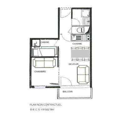 Vacances en montagne Studio 2 cabines 4 personnes (205) - Résidence le Villaret - Les Menuires - Plan