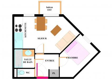 Vacances en montagne Appartement 2 pièces 4 personnes (E101) - Résidence les Alpages - Val Cenis - Plan