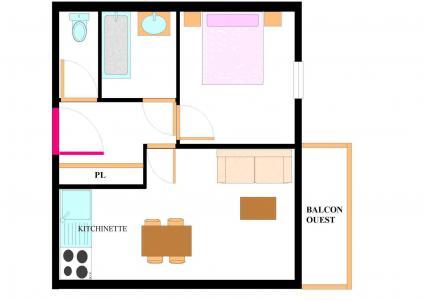 Vacances en montagne Appartement 2 pièces 4 personnes (E209) - Résidence les Alpages - Val Cenis - Plan
