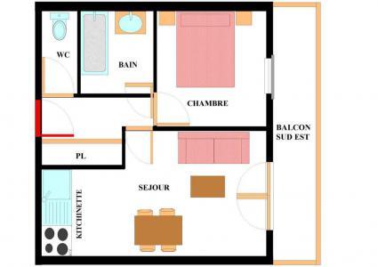 Vacances en montagne Appartement 2 pièces 4 personnes (A201) - Résidence les Alpages - Val Cenis - Plan