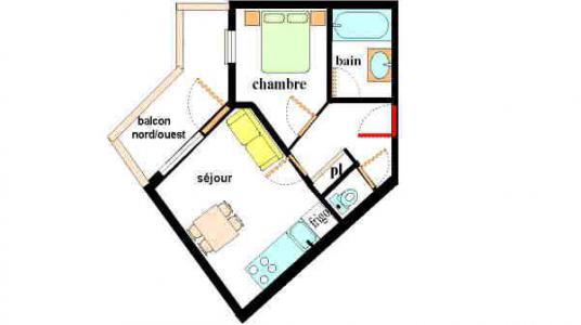 Vacances en montagne Appartement 2 pièces 4 personnes (E304) - Résidence les Alpages - Val Cenis - Plan