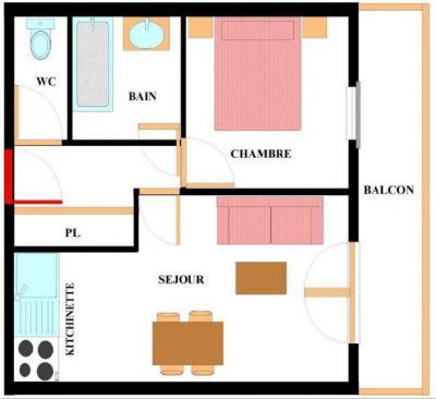 Vacances en montagne Appartement 2 pièces 4 personnes (ALE317) - Résidence les Alpages - Val Cenis - Plan