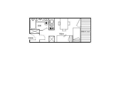 Holiday in mountain resort Studio 2 people (724) - Résidence les Asters B2 - Les Menuires - Plan