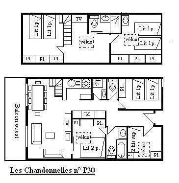 Vacances en montagne Appartement 6 pièces 10 personnes (30) - Résidence les Chandonnelles II - Méribel - Plan
