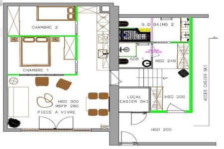 Urlaub in den Bergen 2-Zimmer-Appartment für 6 Personen (000B) - Résidence les Cristaux - Les Menuires
