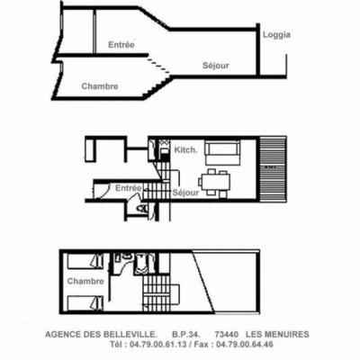 Holiday in mountain resort 2 room duplex apartment 5 people (303) - Résidence les Evons - Les Menuires - Plan