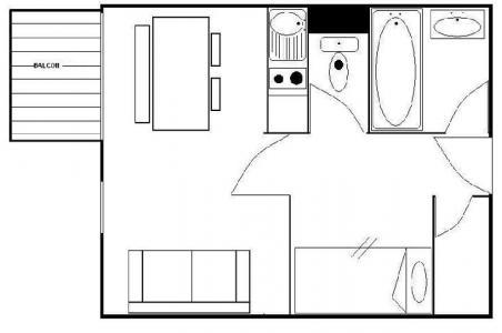 Vacances en montagne Studio cabine 4 personnes (110) - Résidence les Gentianes - Les Menuires - Plan
