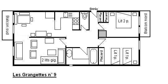 Vacances en montagne Appartement 3 pièces 6 personnes (9) - Résidence les Grangettes - Méribel - Plan