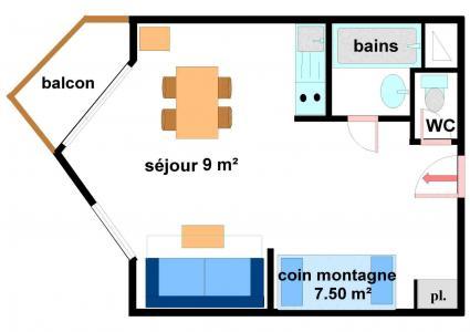 Vacances en montagne Studio coin montagne 4 personnes (233) - Résidence les Hauts de Val Cenis - Val Cenis - Plan