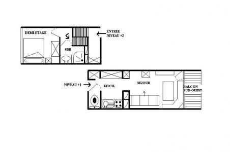 Vacances en montagne Appartement 2 pièces 4 personnes (8) - Résidence les Lauzes - Les Menuires - Plan