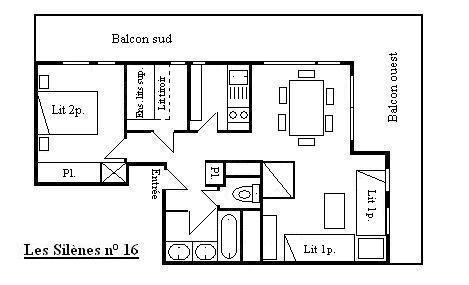 Vacances en montagne Appartement 3 pièces 7 personnes (16) - Résidence les Silènes - Méribel - Plan