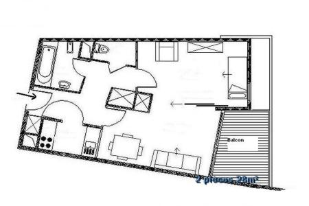 Holiday in mountain resort 2 room apartment 4 people (204) - Résidence les Soldanelles A - Les Menuires - Plan