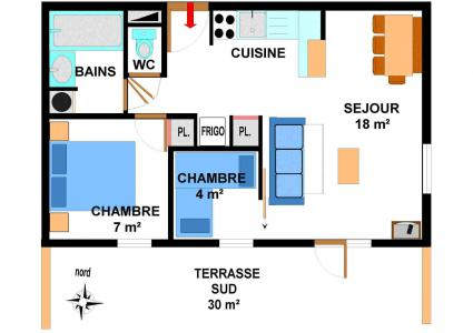 Vacances en montagne Appartement 3 pièces 6 personnes (001) - Résidence les Sports - Aussois - Plan