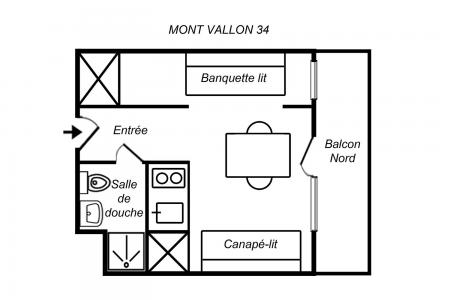 Vacances en montagne Studio 3 personnes (034) - Résidence Mont Vallon - Méribel-Mottaret
