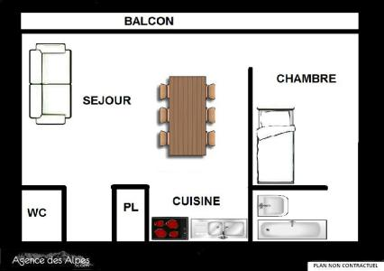 Vacances en montagne Appartement 2 pièces 5 personnes (53) - Résidence Oisans - Les Menuires - Plan