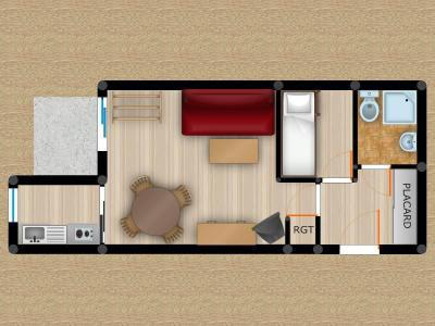 Vacances en montagne Studio 3 personnes (002) - Résidence Pendule - Montchavin La Plagne - Plan