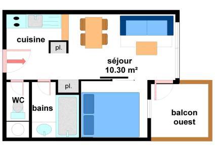 Vacances en montagne Appartement 2 pièces 4 personnes (A015) - Résidence Pied de Pistes - Val Cenis - Plan