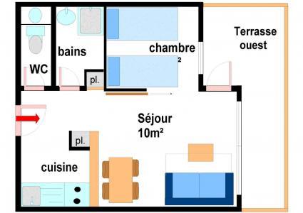 Vacances en montagne Appartement 2 pièces 4 personnes (B001) - Résidence Pied de Pistes - Val Cenis - Plan