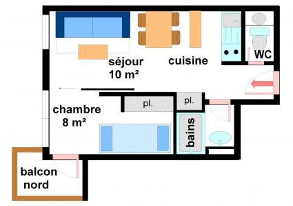 Vacances en montagne Appartement 2 pièces 4 personnes (B011) - Résidence Pied de Pistes - Val Cenis - Plan