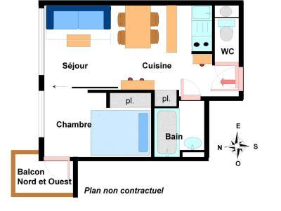 Vacances en montagne Appartement 2 pièces 4 personnes (B006) - Résidence Pied de Pistes - Val Cenis - Plan
