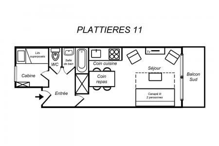 Vacances en montagne Appartement 2 pièces 4 personnes (11) - Résidence Plattières - Méribel-Mottaret - Plan