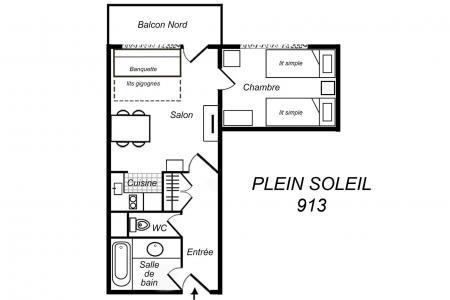 Vacances en montagne Appartement 2 pièces 4 personnes (913) - Résidence Plein Soleil - Méribel-Mottaret