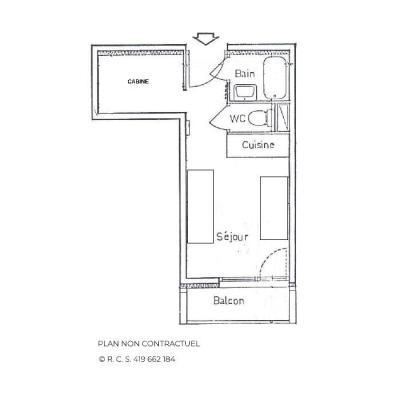 Vacances en montagne Studio cabine 3 personnes (617) - Résidence Sarvan - Les Menuires - Plan