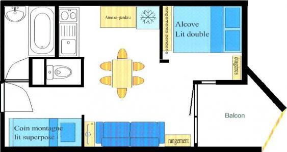 Vacances en montagne Studio coin montagne 4 personnes (022) - Résidence Triade - Val Cenis - Plan