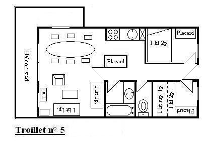 Vacances en montagne Appartement 3 pièces 6 personnes (5) - Résidence Troillet - Méribel - Plan