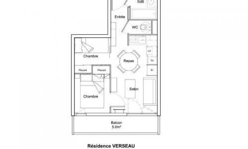 Wakacje w górach Studio kabina 4 osoby (Sélection 26m²-2) - Résidence Verseau - Maeva Particuliers - Flaine - Plan