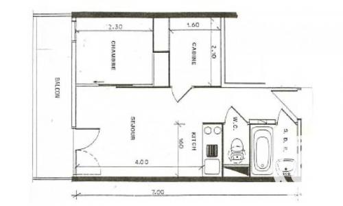Wakacje w górach Studio kabina 4 osoby (Confort 26m²-2) - Résidence Verseau - Maeva Particuliers - Flaine - Plan