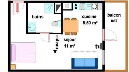 Vacances en montagne Studio 3 personnes (C021) - Résidences du Quartier Napoléon - Val Cenis - Plan
